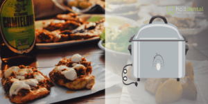 An Instant Pot® with multiple meals for dinner in the background